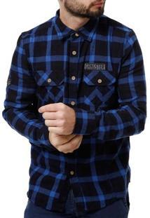 Camisa Flanela Manga Longa Masculina Gangster Azul