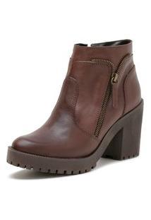 Bota Salto Alto Em Couro Doc Shoes Marrom