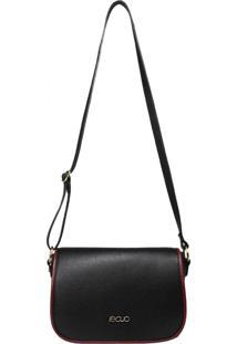 Bolsa Em Couro Recuo Fashion Bag Transversal Preto/Vinho