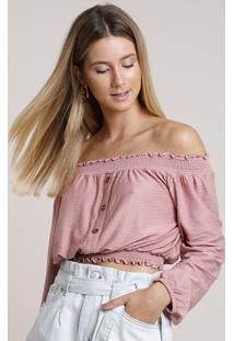 Blusa Feminina Cropped Ombro A Ombro Canelada Com Botões Manga Longa Rosê