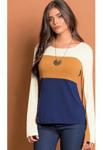 Blusa Tricolor Caramelo Com Recortes