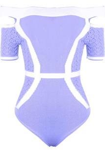 Body Outlet Dri Tricot Modal Ombro A Ombro Ciganinha Detalhe Fenda Azul