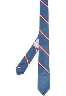 Thom Browne Gravata De Seda Listrada - Azul
