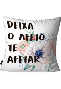Capa De Almofada Pump Up Decorativa Avulsa Branco Frases Afeto 45X45Cm