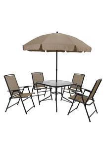 Conjunto Para Jardim Acapulco 4 Cadeiras 1 Mesa Quadrada E 1 Guarda-Sol Mor