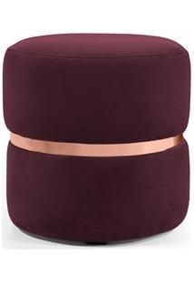 Puff Decorativo Com Cinto Rosê Round B-278 Veludo Marsala - Domi