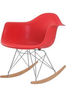 Cadeira Eames Eiffel Com Braco Polipropileno Cor Vermelho Base Balanco - 44928 Sun House