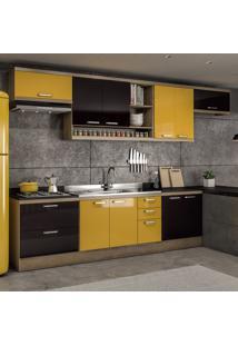 Cozinha Completa Sem Tampo 10 Portas 5800 Argila/Preto/Amarelo - Multimóveis