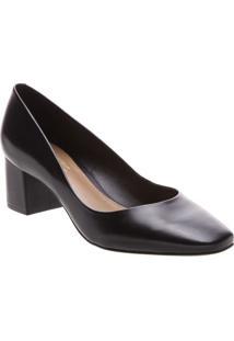 Sapato Tradicional Em Couro- Preto- Salto: 5Cmarezzo & Co.