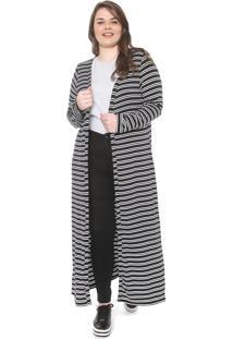 Maxi Cardigan Secret Glam Plus Size Listrado Preto/Branco