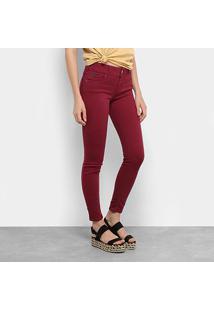 Calça Sarja Skinny Colcci Básica Color Cintura Média Feminina - Feminino-Bordô