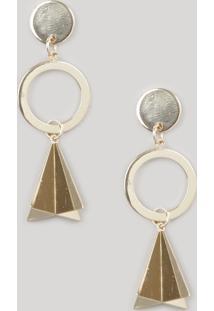 Brinco Feminino Geométrico Com Argola Dourado
