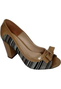 Sapato Nk Calcados Abertura Feminino - Feminino-Nude