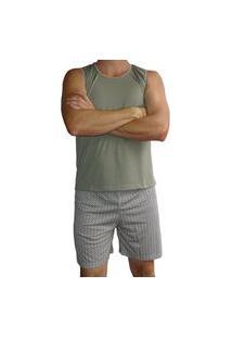 Pijama Masculino Regata Shorts Curto Estampado Verão - Marrom