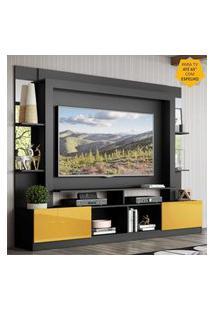 "Rack C/ Painel Tv 65"" Prateleiras C/ Espelho Oslo Multimóveis Preto/Amarelo"