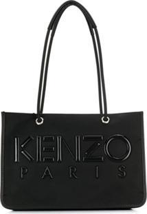 Kenzo Bolsa Tote Com Patch De Logo - Preto