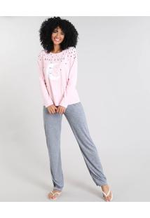 "Pijama Feminino Com Estampa ""Make A Wish"" Manga Longa Rosa Claro"