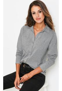 Camisa Polo Com Bolsos Frontais Cinza Mescla