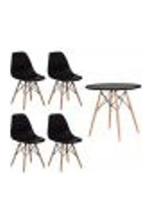 Conjunto Kit 4 Cadeiras Eiffel Eames Preta + 1 Mesa Eames 80Cm Preta Base Madeira Sala Cozinha
