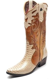 Bota Country Feminina Bico Fino Top Franca Shoes Anaconda Dourado