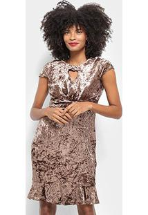 Vestido Pérola Evasê Curto Veludo Decote - Feminino-Marrom