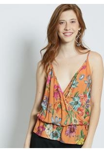 Blusa Floral Com Transpasse - Laranja & Verde - Colccolcci