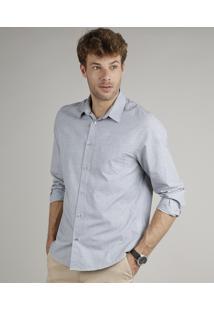 Camisa Masculina Comfort Fit Com Bolso Manga Longa Cinza