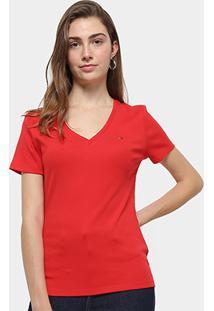 Camiseta Tommy Hilfiger Im A Cody Round Top Feminina - Feminino-Vermelho