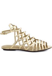 Sandália Rasteira Metalizada- Douradaschutz