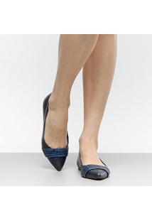 Sapatilha Couro Shoestock Trança Bico Fino Feminina - Feminino