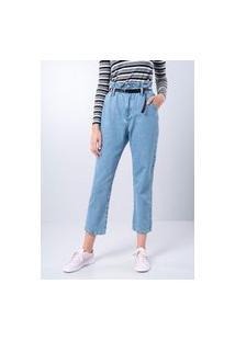 Calça Jeans Clochard Retrô Com Cinto Azul Médio Gang Feminina