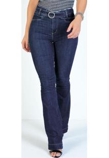 Calça Jeans Escura Boot Cut Com Argola Sawary