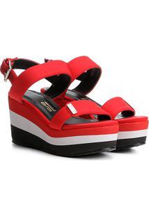 Sandália Plataforma Santa Lolla Neoprene Listrada - Feminino-Vermelho