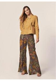 Calça Mob Pantalona Est Floral Geométrico Estampado - Feminina - Feminino