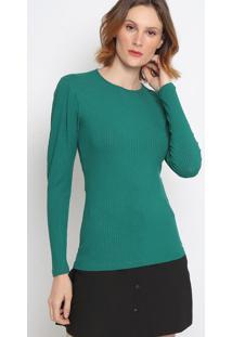Blusa Canelada Com Pregas- Verde Escuro- Colccicolcci