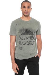 Camiseta Calvin Klein Jeans Destroyed Verde
