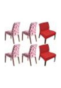 Kit 6 Capas De Cadeira Estampada E Lisa Shade Vermelha Sultan