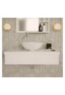 Conjunto Para Banheiro Bancada Com Cuba R35 Redonda City 800 Branco Chess
