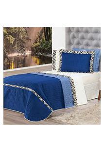 Kit Cobre Leito C/ Travesseiro Monte Carlo Azul Solteiro 04 Peças - Dupla Face