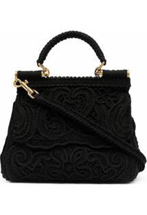 Dolce & Gabbana Bolsa Tote Devotion Com Renda - Preto