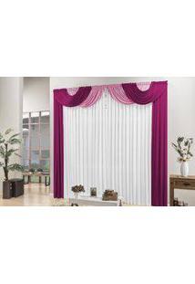 Cortina Esmeralda Tecido Malha Gel Para Sala Ou Quarto 4,00 Largura X 2,50 Altura Pink,Rosa E Branco