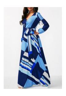 Vestido Longo Estampado Com Laço Manga Longa - Azul