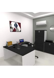 Mesa Para Escritório Reta Natus 40Mm Bramov Móveis Alumínio Polido/Branco/Preto