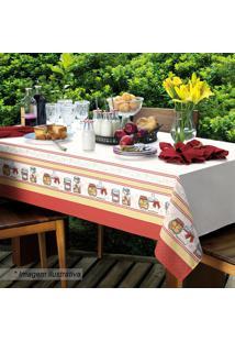 Toalha De Mesa Candy- Branca & Vermelha- 140X140Cm