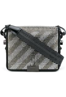 Off-White Bolsa Binder Clip Com Cristais - Preto