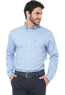 Camisa Tommy Hilfiger Reta Oxford Azul