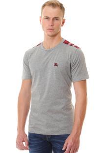 Camiseta Burberry Masculina London England Detail Tartan Gray-Red