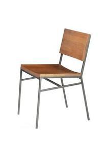 Cadeira Brooklyn Cor Rustic Brown Com Base Aco Grafite - 49617 Rustic