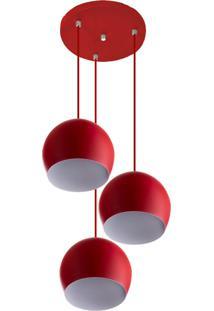 Lustre Pendente Aluminio Bola Triplo 15Cm Vermelho