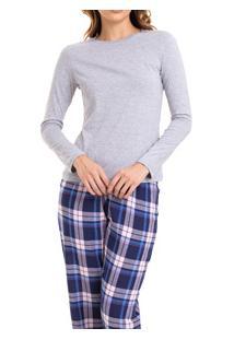 Pijama Longo Feminino Mescla Xadrez Flanelado (924/Ls223) 100% Algodão